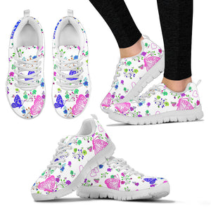 Womens Sneakers In Butterflies Design White Sole