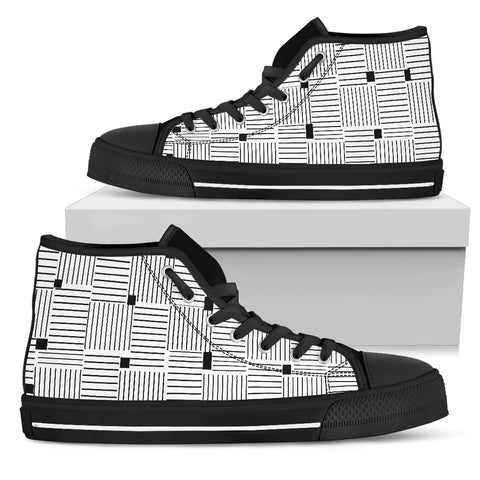 Womens High Top Shoes In Black and White Stripes