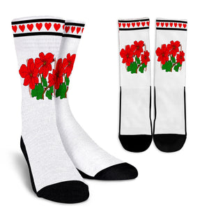White and Red Crew Socks With Pointsettia