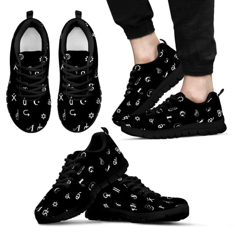 Black and White Mens Sneakers With Symbol Design