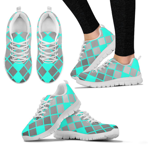 Womens Sneakers In Turquoise And Gray