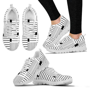 Womens Black and White Stripe Sneakers
