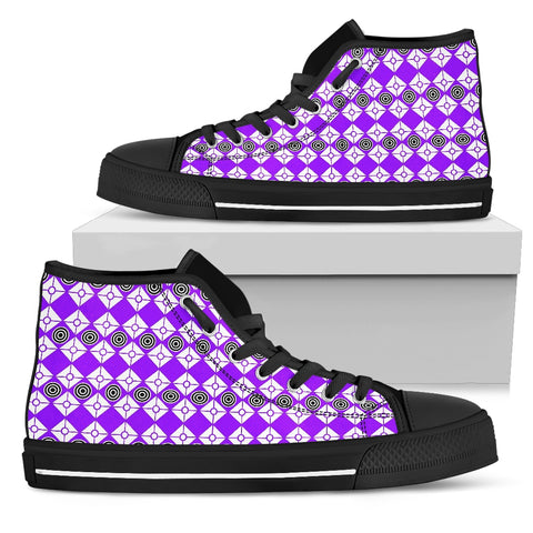 Womens Periwinkle High Top Canvas Shoes Black Trim