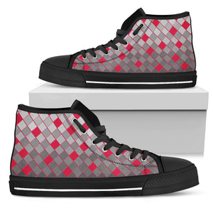 Womens Black Sole High Tops In Grey and Red Diamonds