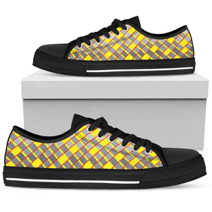 Womens Low Tops In Gray And Yellow Diamonds
