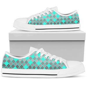 womens Low Tops In Gray And Turquoise Diamonds