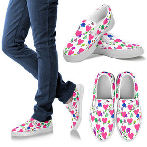 Womens Slip On Shoes Butterflies and Hearts Design