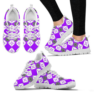 Periwinkle Sneakers Diamonds and Circles Design White Sole