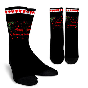Black and Red Merry Christmas Crew Socks