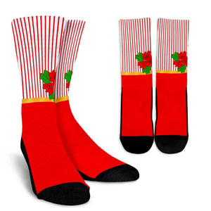 Red and White Pointsettia Crew Sock