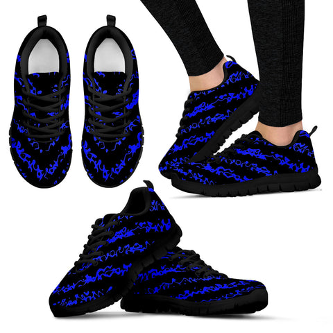 Womens Sneakers Black and Electric Blue