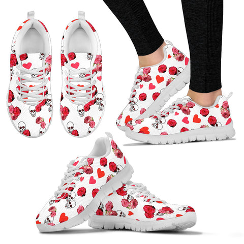 Womens White Skulls And Roses Sneakers