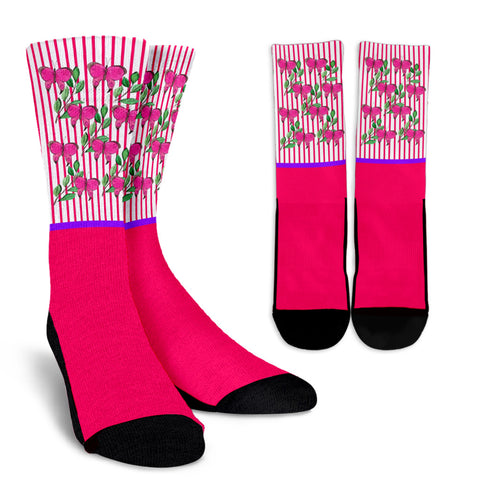 Pink Butterfly Crew Sock