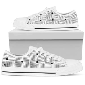 Womens White and Black Lines Low Top Shoes