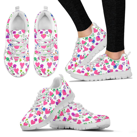 Womens Sneakers In Butterflies and Hearts Design