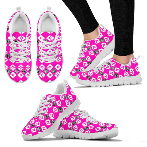 Womens Hot Pink Diamond and Circles Sneakers