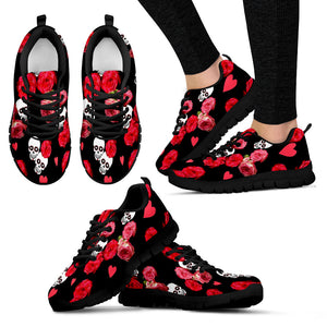 Womens  Shoes Black Skulls and Roses Sneakers