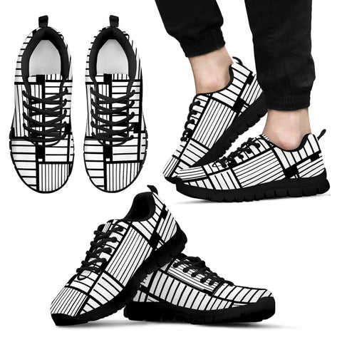 Men's Sneakers Black and White Grid Pattern