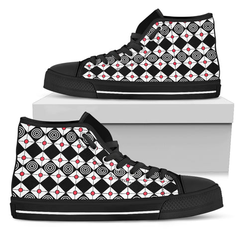 Womens High Top Shoes With Black Diamonds and Red Circles
