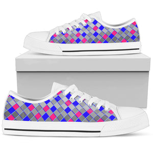 Womens Low Tops In Gray Pink And Blue Diamonds