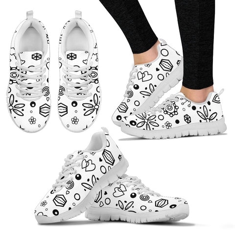Trendy Sneakers With Black and White Symbols Design