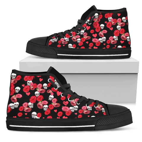 Skulls And Roses High Top Womens Shoes Black Trim