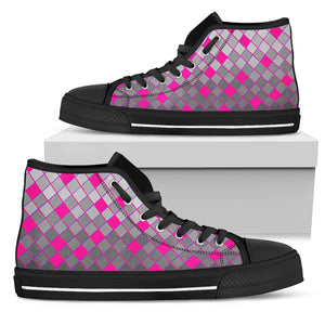 Womens Black Sole High Tops In Grey and Pink Diamonds