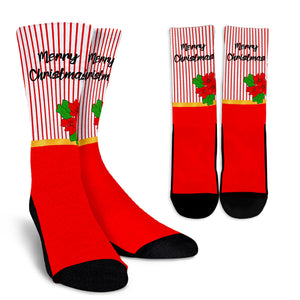 Merry Christmas Red and White Crew Socks