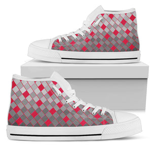 Womens White Sole High Tops In Grey and Red Diamonds