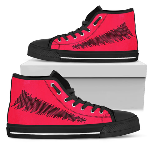 Womens High Top Red And Black Design