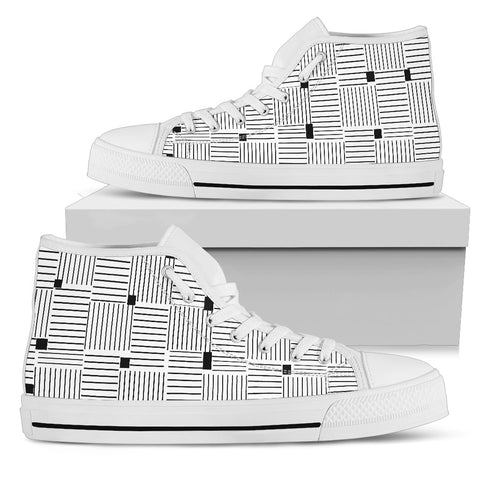 Womens High Top Canvas Shoe Black and White Stripes