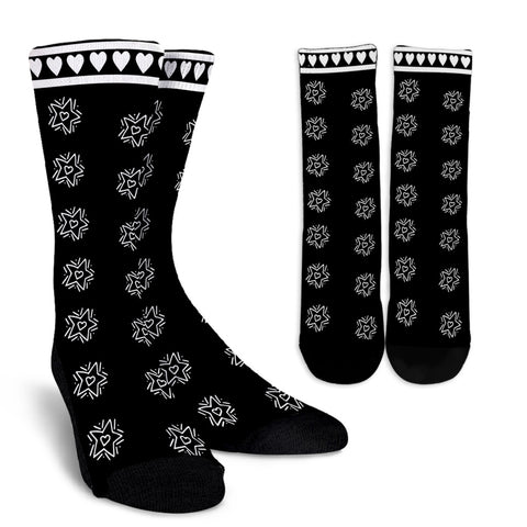 Black and White Crew Socks Hearts and Stars