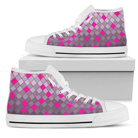 Womens White Sole High Tops In Grey and Pink Diamonds