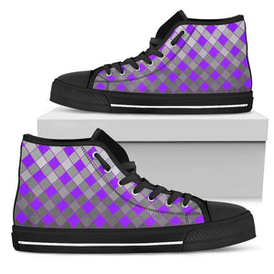 Womens Black Sole High Tops In Grey and Purple Diamonds