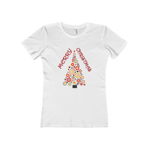 Female T-shirt MERRY CHRISTMAS White Black or Green