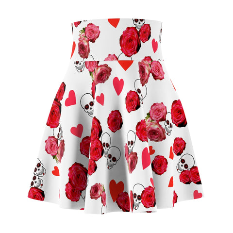Women's Skater Skirt White With Skulls and Roses Design