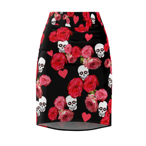 Women's Pencil Skirt Black Skulls and Roses