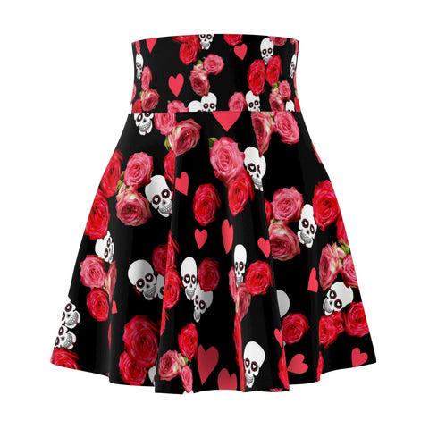 Women's Black Skater Skirt With Skulls and Roses
