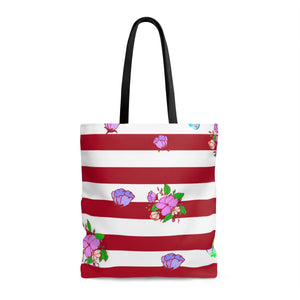 Red and White Stripe Tote Bag