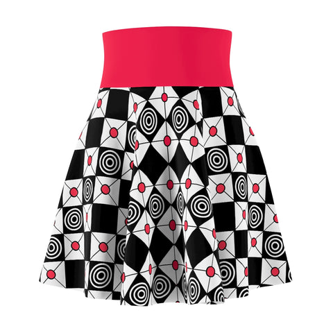 Women's Skater Skirt Red And Black Diamonds and Circles