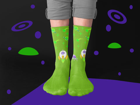 Galaxy Citrus Green Space Socks With Planets and Stars