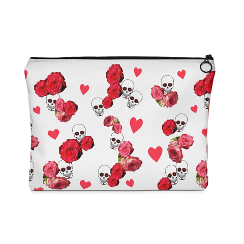 Carry All Pouch White Skulls and Roses