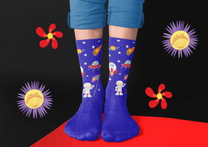 Cobalt Blue Galatic Crew Socks