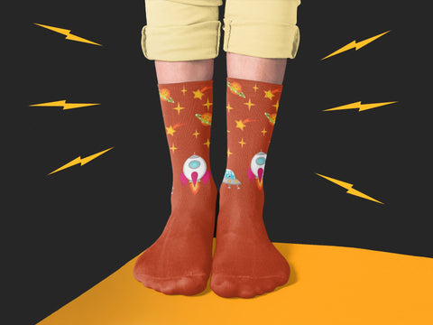 Galaxy Brown Space Socks With Planets and Stars