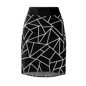 Women's Pencil Skirt Black With White Geometric Pattern
