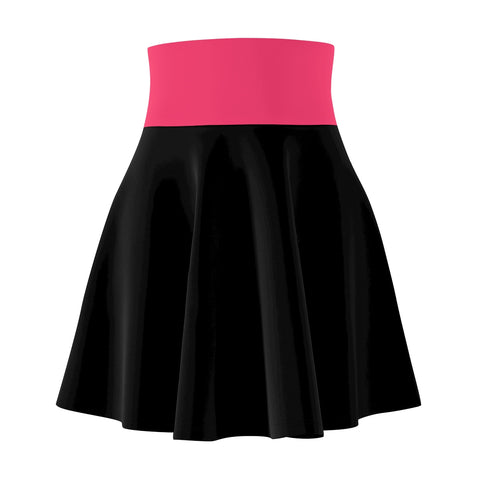 Black Skater Skirt With Watermelon Waistband