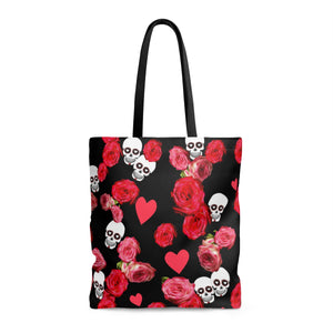 Tote Bag With Skulls and Roses On Black