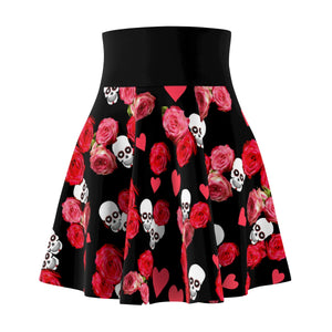 Women's Black Skater Skirt With Skulls and Roses Design