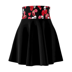 Women's Black Skater Skirt With Skulls Waistband