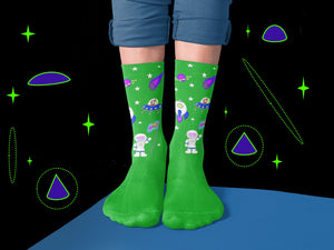 Green and Blue Galactic Crew Socks